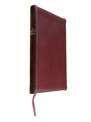 Bible à rebords cuir grenat, format de poche