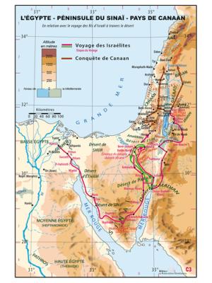 Carte murale : L'Egypte, péninsule du Sinaï, pays de Canaan