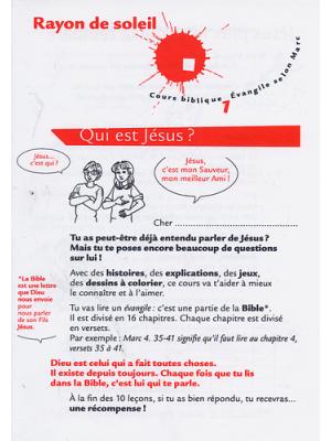 Cours biblique : rayon de soleil