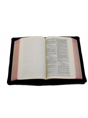 Bible cuir noir, interfoliée à rebords, format moyen